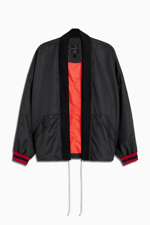 varsity kimono bomber jacket in black/red by daniel patrick