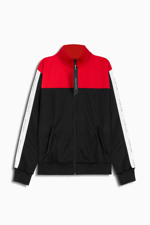 slim track jacket in black/red/ivory by daniel patrick