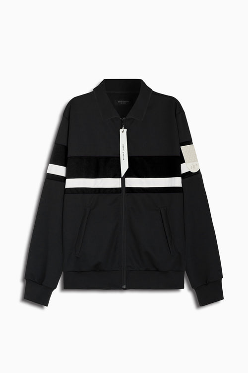 LA track jacket in black/black velour/ivory by daniel patrick