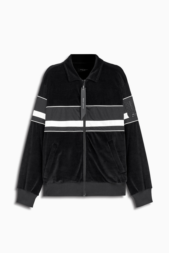 LA track jacket in black velour/black/ivory by daniel patrick