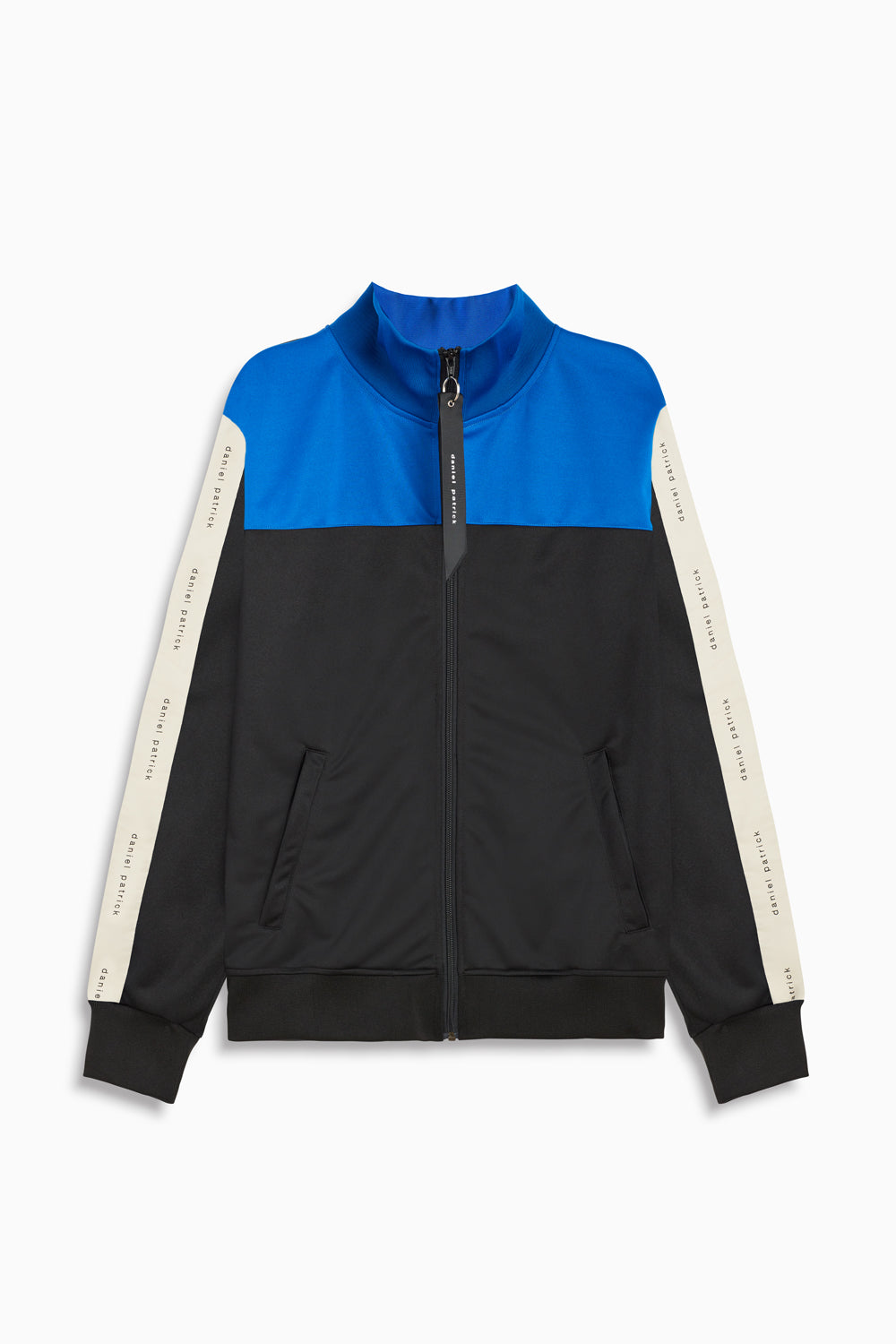 slim track jacket in black/cobalt/ivory by daniel patrick