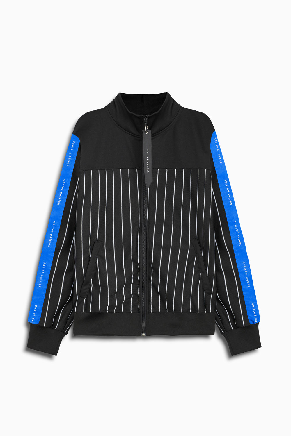 slim track jacket in black stripe/black/cobalt by daniel patrick