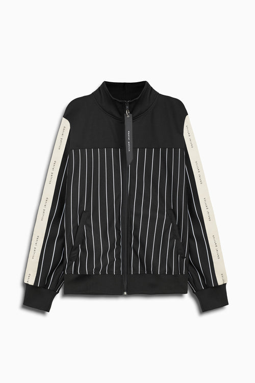 slim track jacket in black stripe/black/ivory by daniel patrick