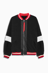 sherpa bomber v in black/ivory/red by daniel patrick