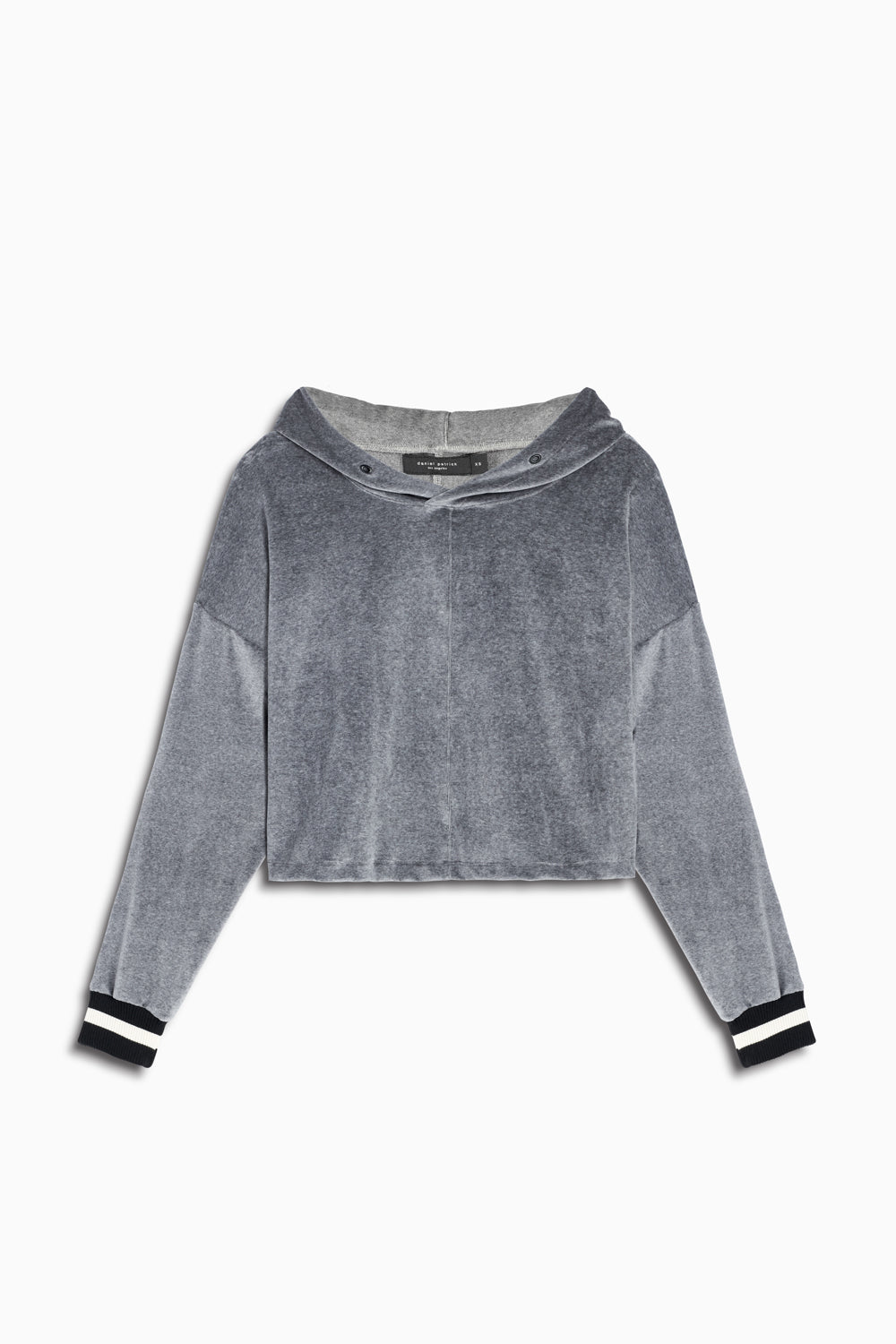 crop velour varsity hoodie in grey/black by daniel patrick