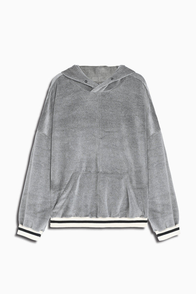varsity velour hoodie in grey/ivory by daniel patrick