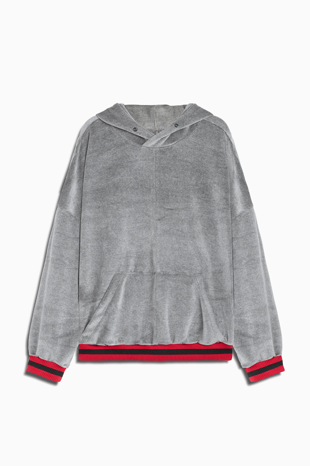 varsity velour hoodie in grey/red by daniel patrick