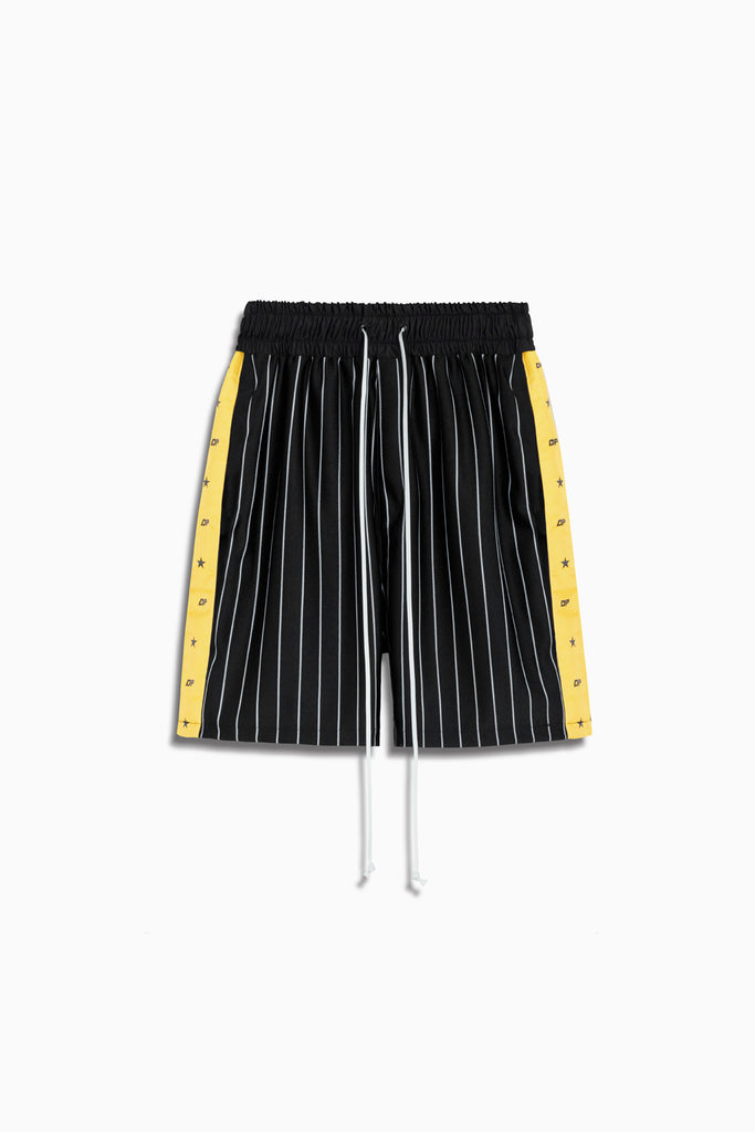 track team gym short in black stripe/yellow by daniel patrick
