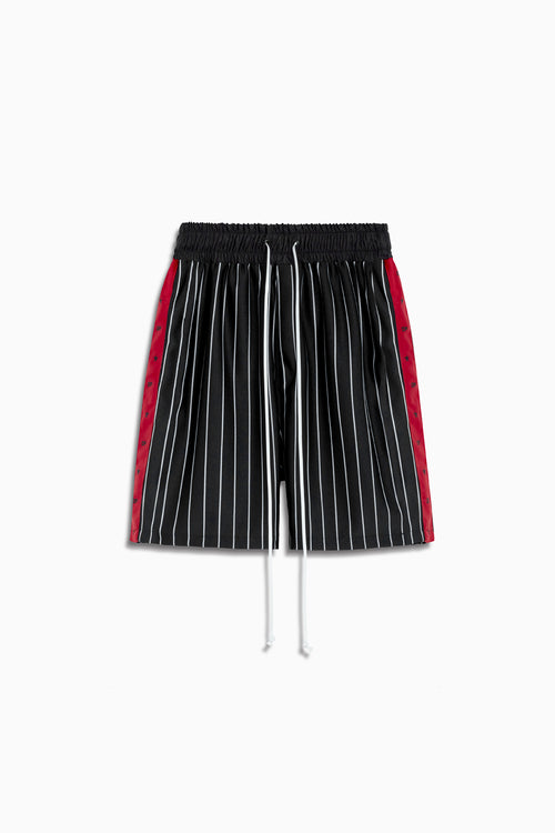track team gym short in black stripe/red by daniel patrick