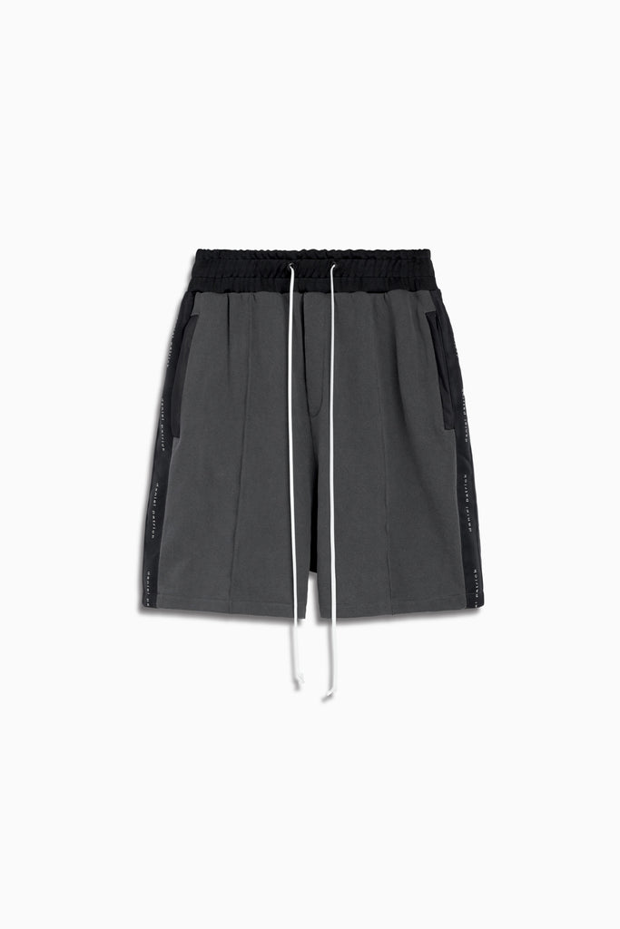 fleece gym short ii in vintage black/black by daniel patrick