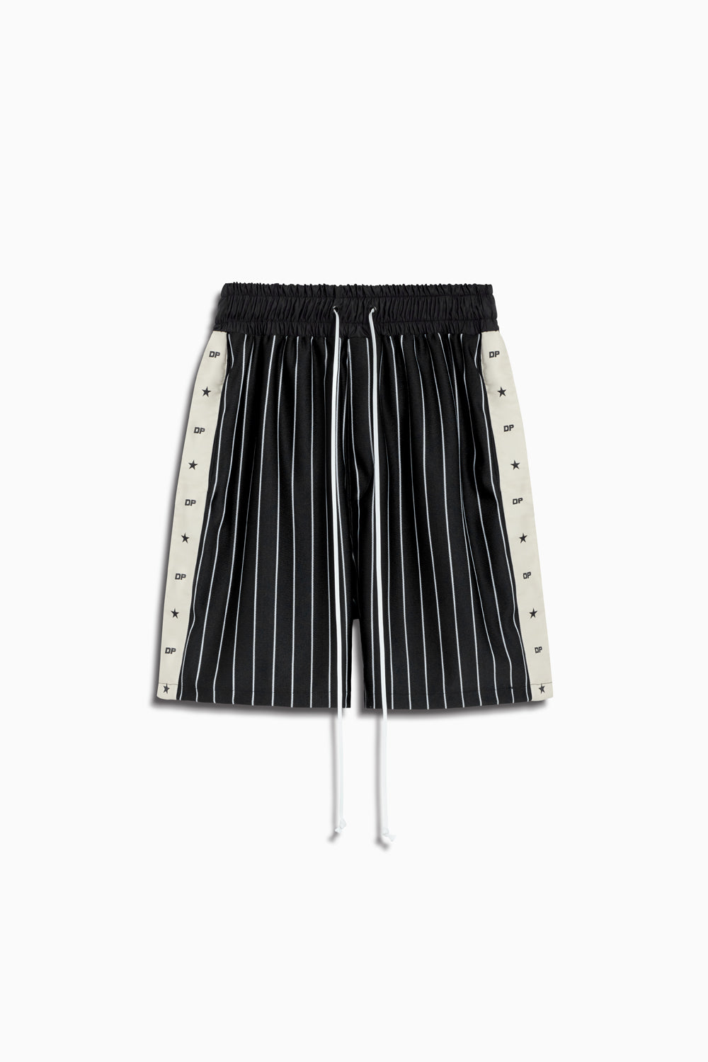 track team gym short in black stripe/ivory by daniel patrick