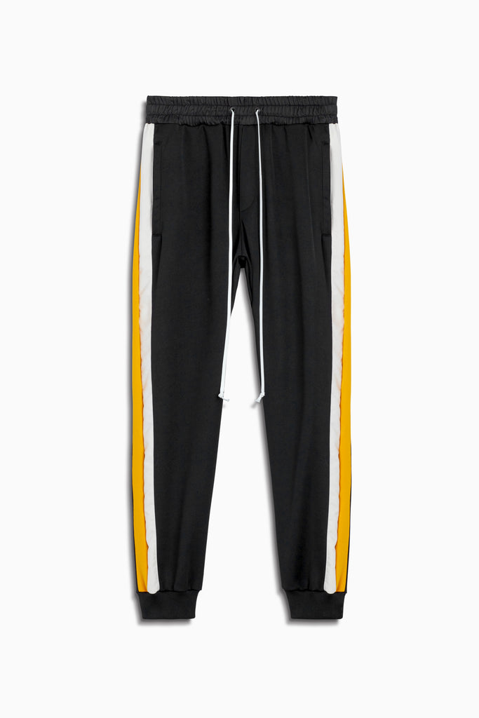 tri track pant in black/yellow/ivory by daniel patrick