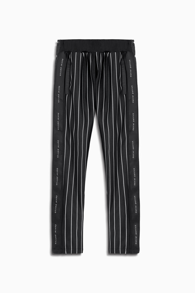 snap track pant in black stripe/black by daniel patrick