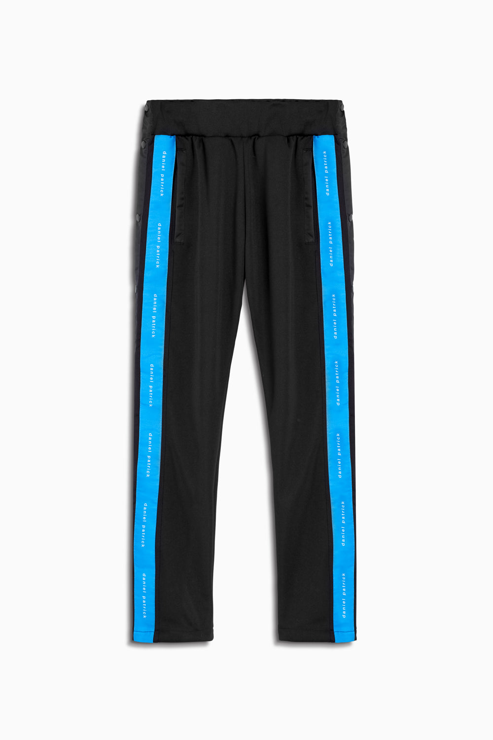 snap track pant in black/cobalt by daniel patrick