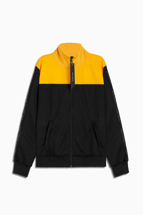 slim track jacket in black/yellow/black by daniel patrick