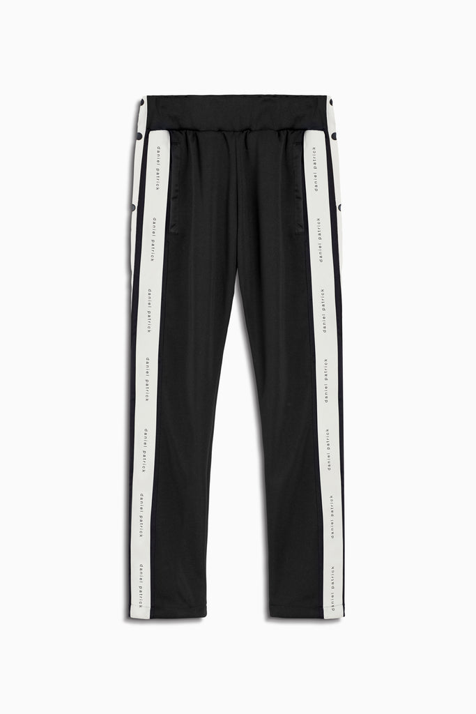 snap track pant in black/ivory by daniel patrick