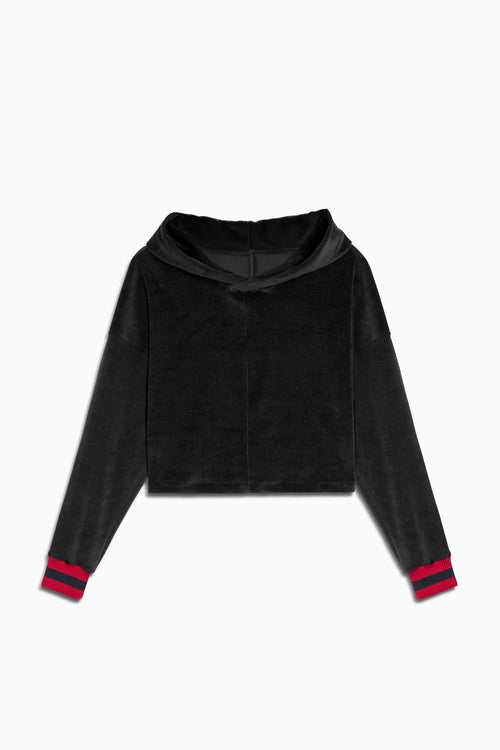 crop velour varsity hoodie in black/red by daniel patrick