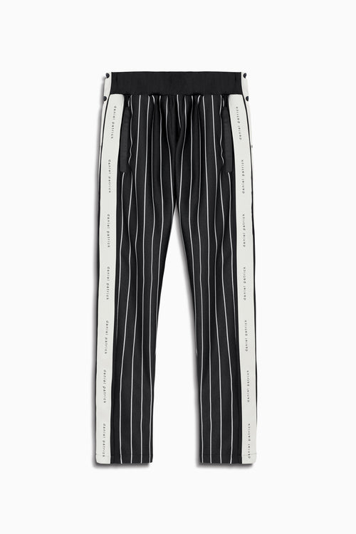 snap track pant in black stripe/ivory by daniel patrick