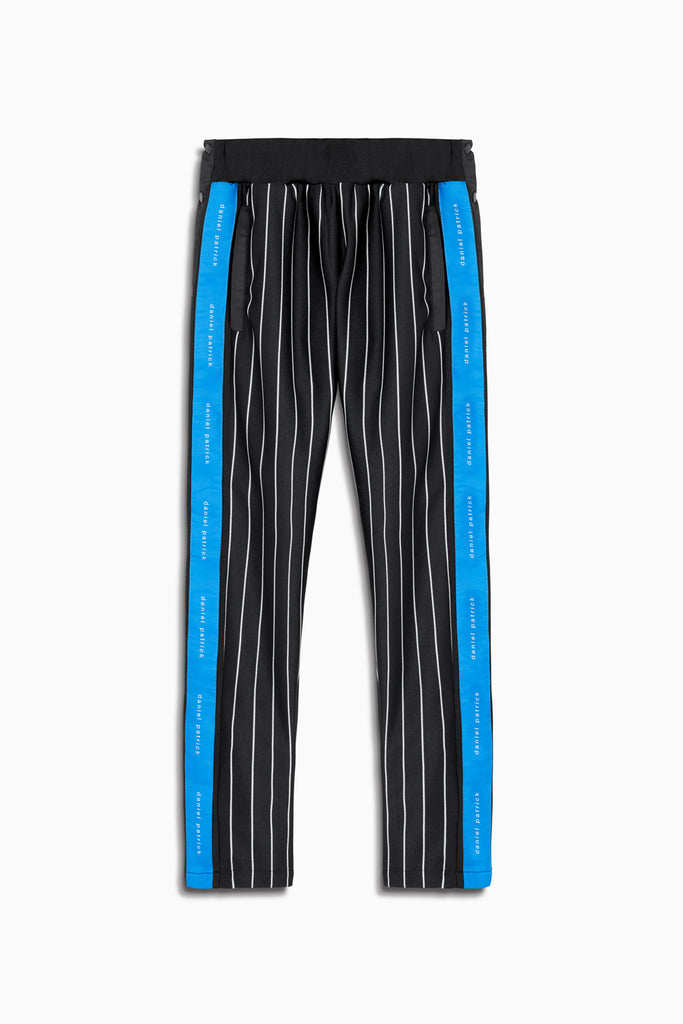 snap track pant in black stripe/cobalt by daniel patrick