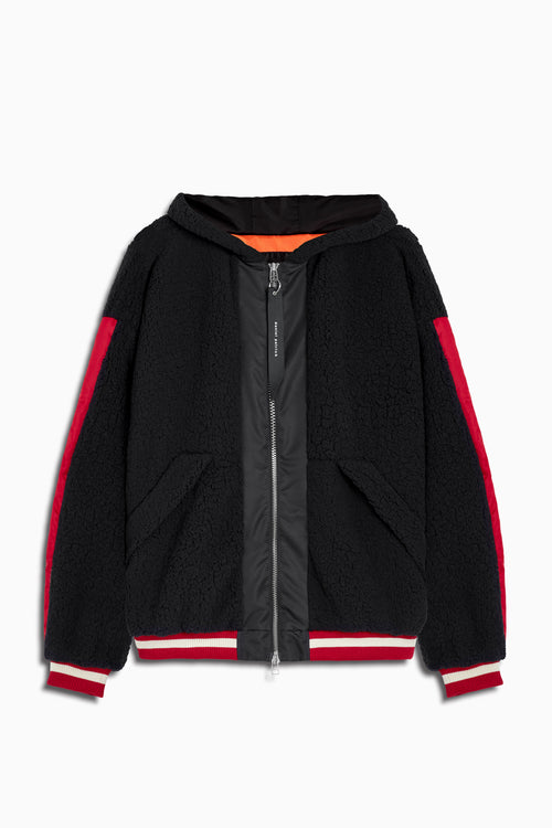 varsity sherpa hood bomber in black/red by daniel patrick