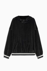 varsity velour hoodie in black by daniel patrick