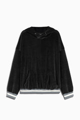 varsity velour hoodie in black/grey by daniel patrick