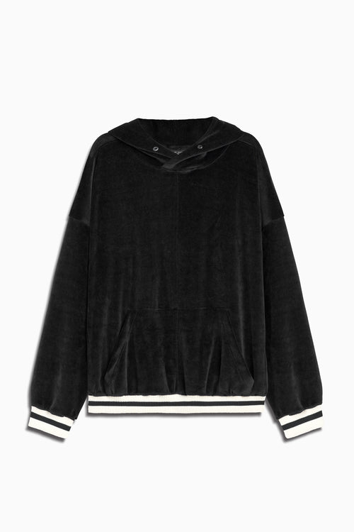 varsity velour hoodie in black/ivory by daniel patrick