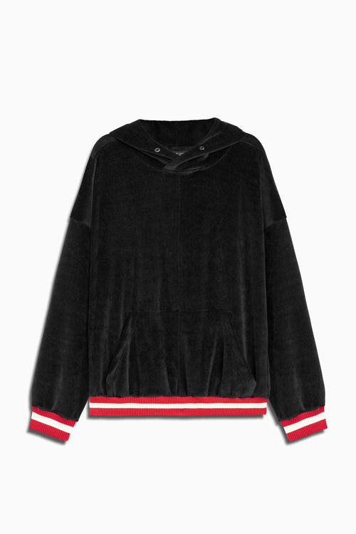 varsity velour hoodie in black/red by daniel patrick