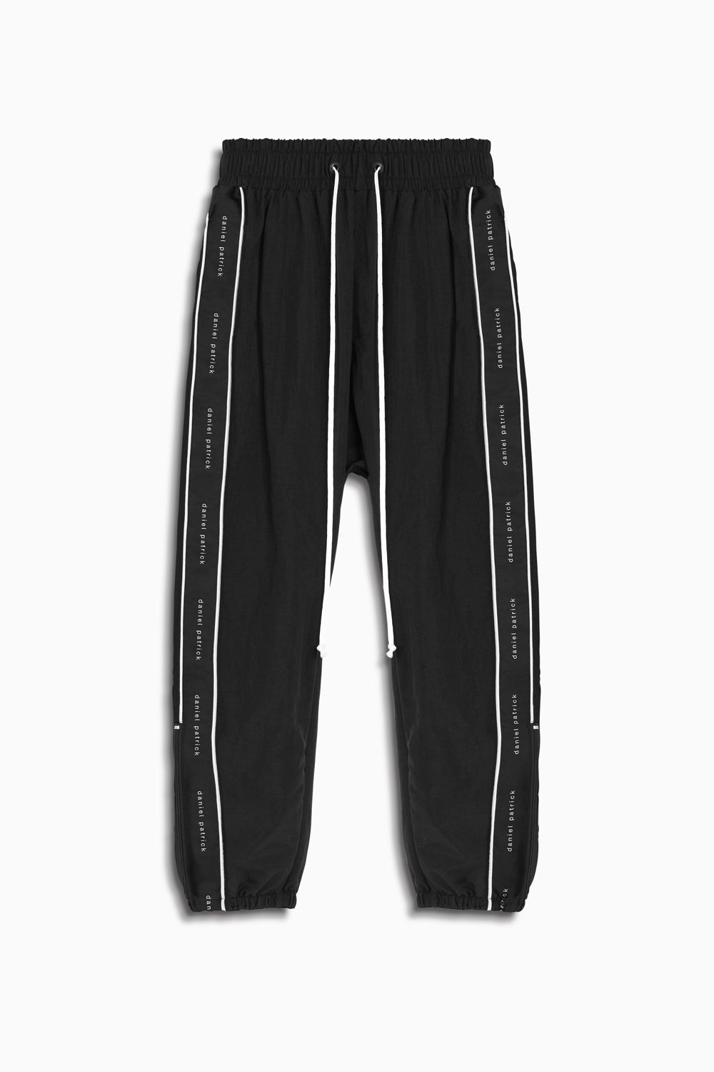 dp parachute track pant piping in black/ivory by daniel patrick