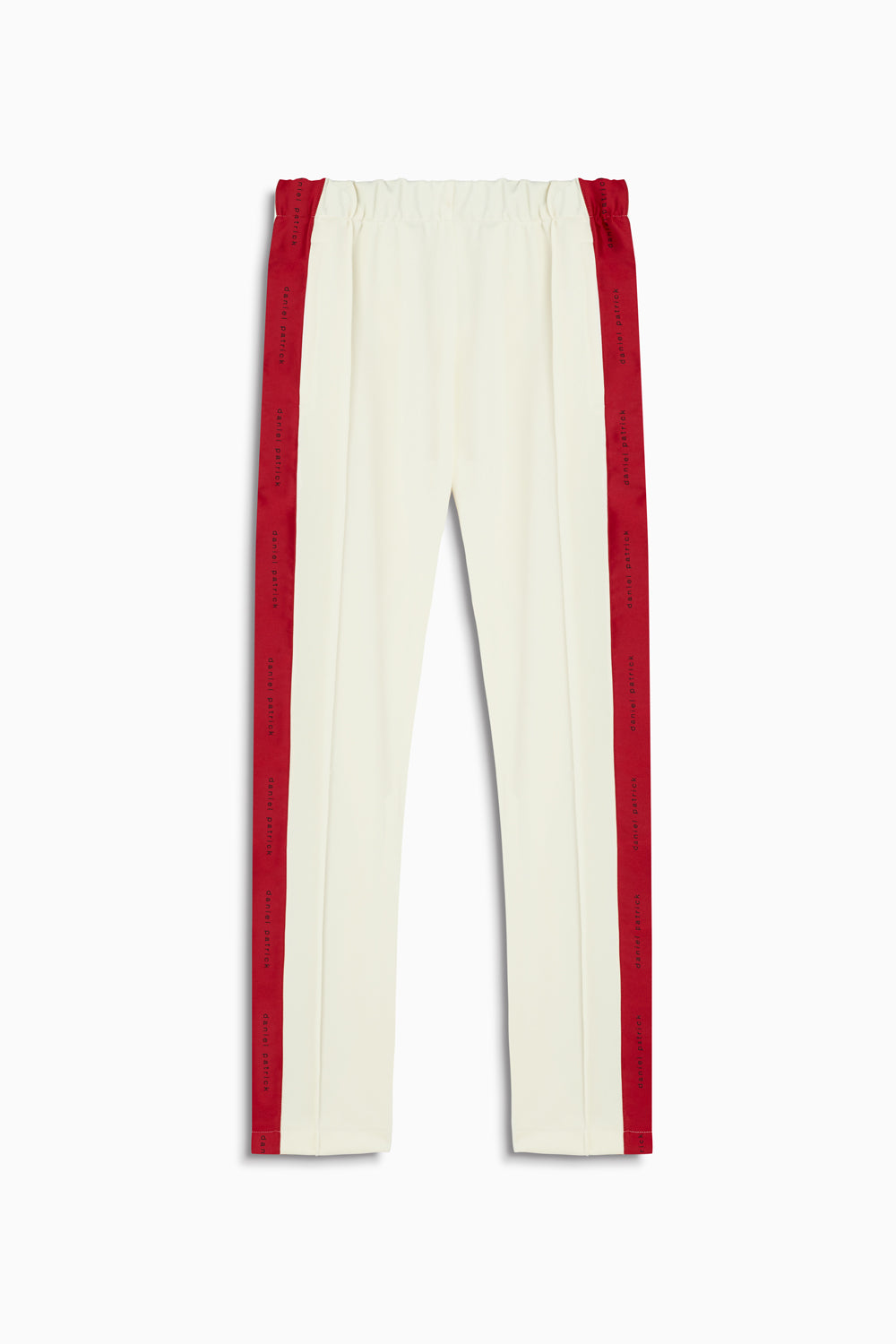 womens heroine track pant in ivory/red by daniel patrick