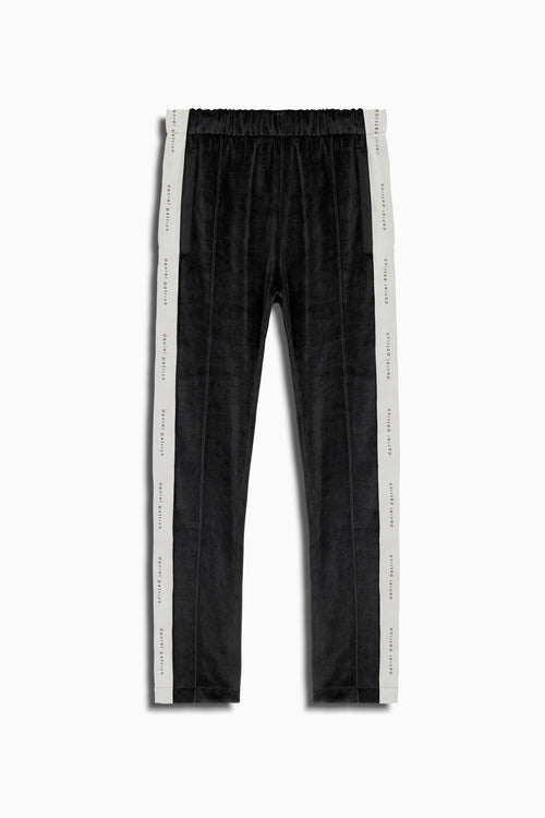 womens velour track pants in black/ivory by daniel patrick
