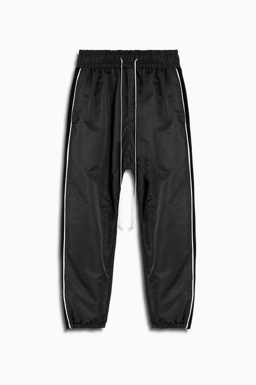 parachute track pant piping in black/ivory/black velour by daniel patrick