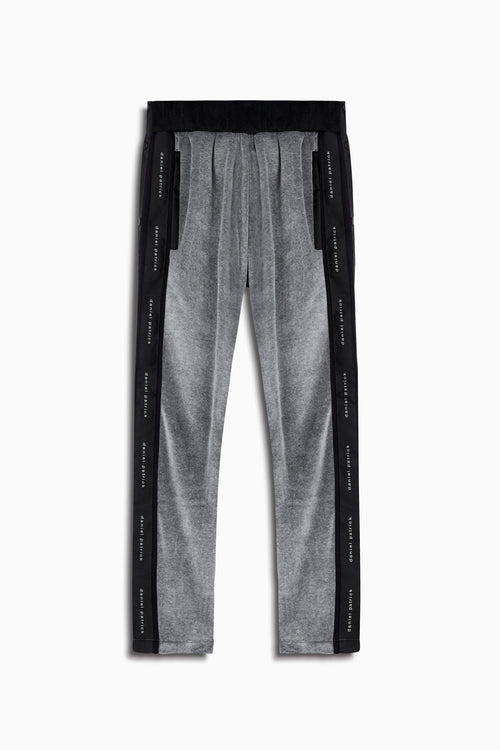 velour snap track pant in grey/black by daniel patrick