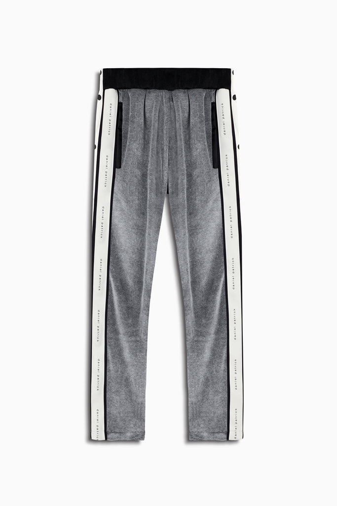 velour snap track pant in grey/ivory by daniel patrick