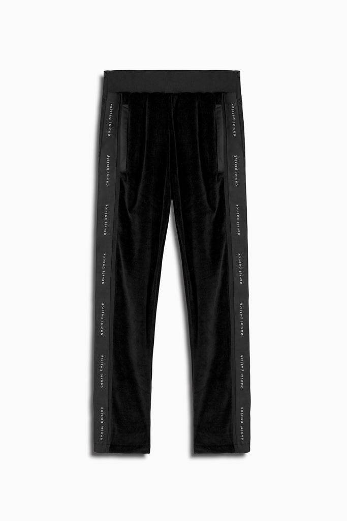 velour snap track pant in black by daniel patrick
