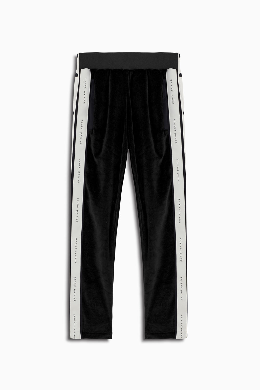 velour snap track pant in black/ivory by daniel patrick