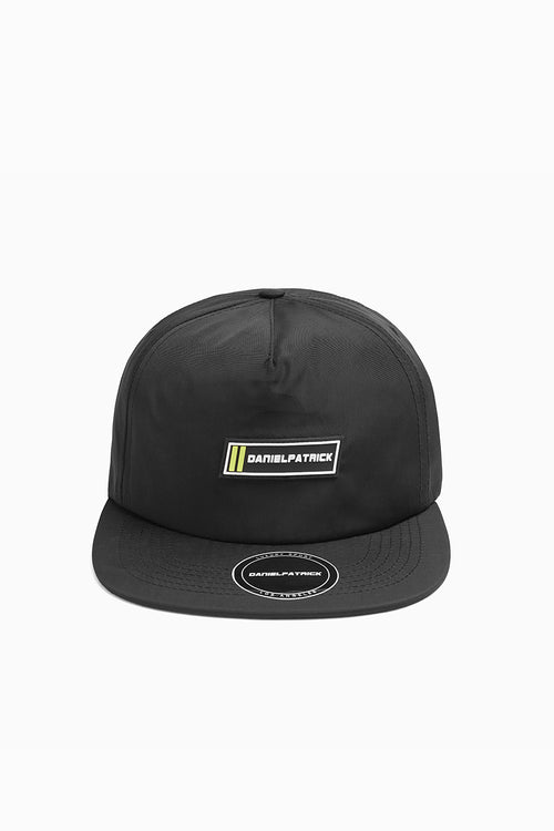 DP 5 panel racing cap in black nylon by daniel patrick