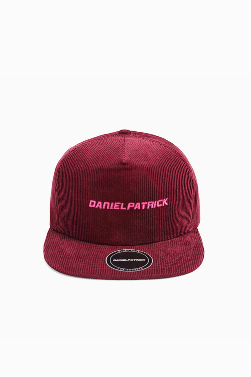 DP 5 panel cap in maroon/wildflower pink by daniel patrick