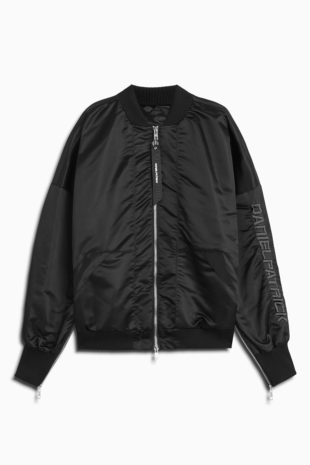 DP embroidered sleeve bomber in black/black by daniel patrick