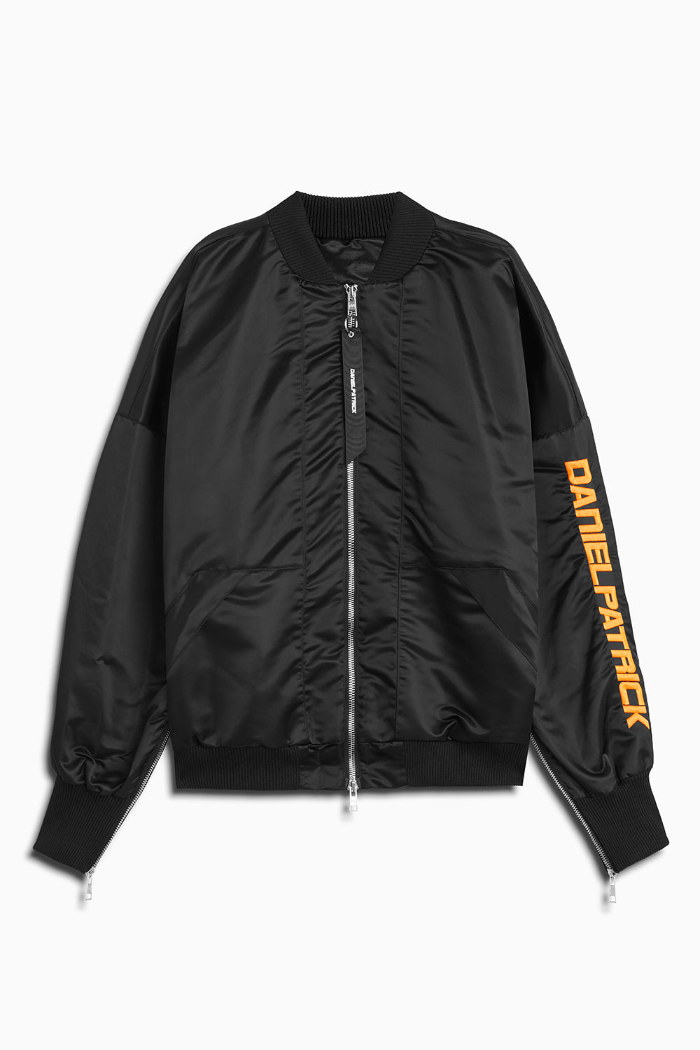 DP embroidered sleeve bomber in black/neon orange