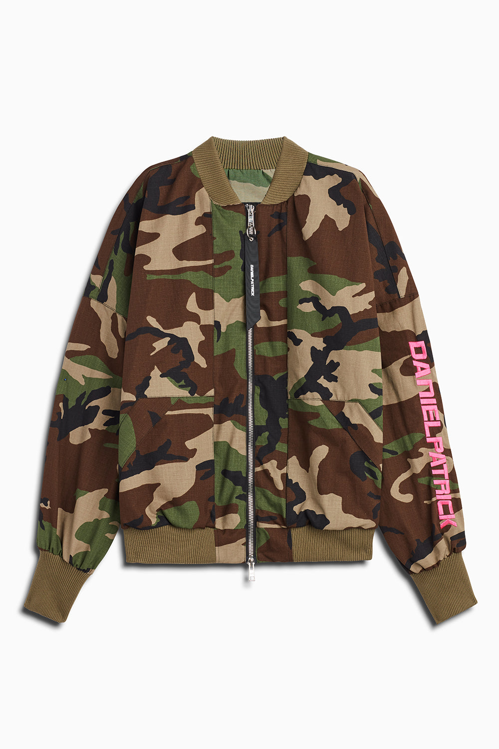 DP embroidered sleeve bomber in camo/pink by daniel patrick