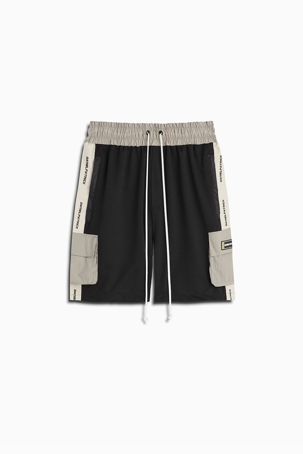 cargo gym short in black/ivory/smog grey by daniel patrick