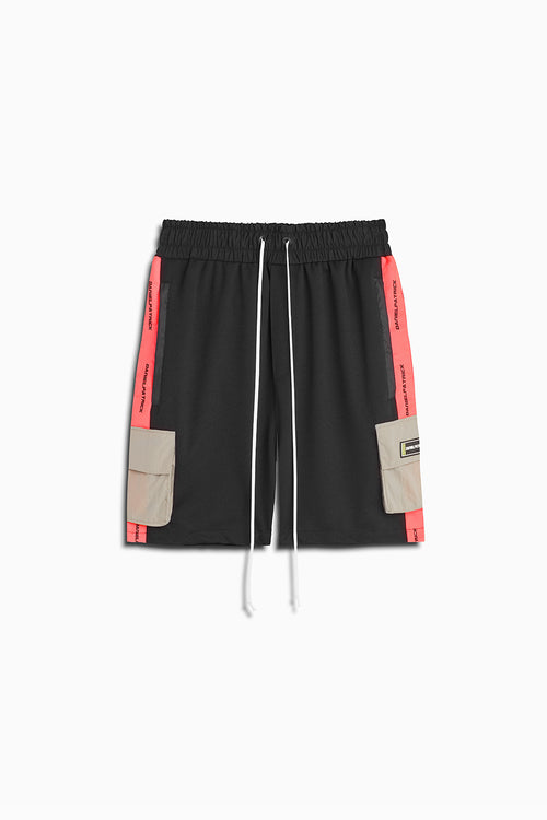 cargo gym short in black/neon pink/smog grey by daniel patrick