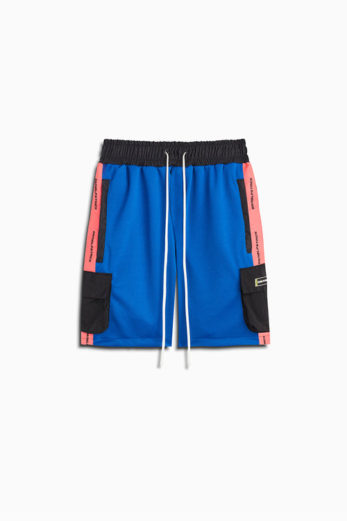 cargo gym short in cobalt/neon pink/black by daniel patrick
