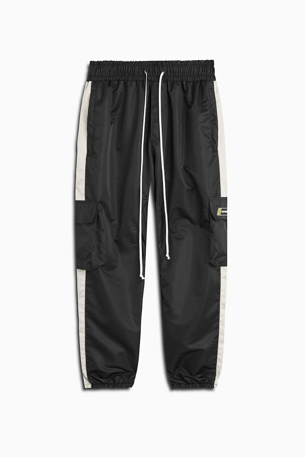 cargo parachute track pant in black/ivory by daniel patrick