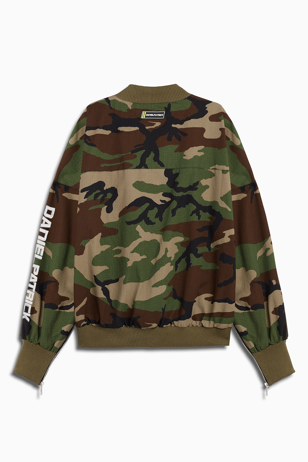 DP embroidered sleeve bomber in camo/grey by daniel patrick