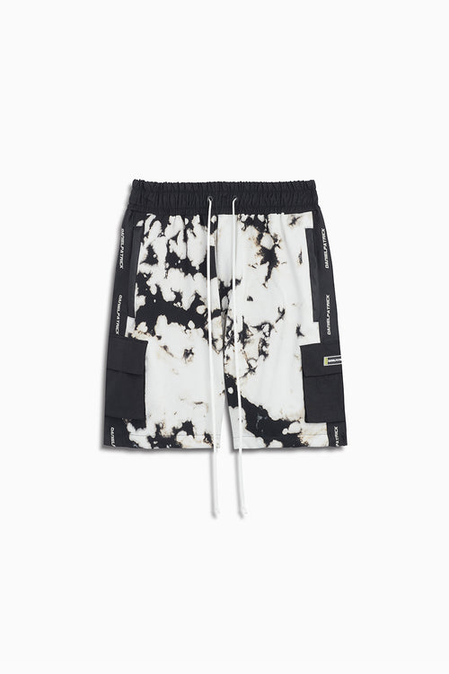 cargo gym short in white acid/black by daniel patrick