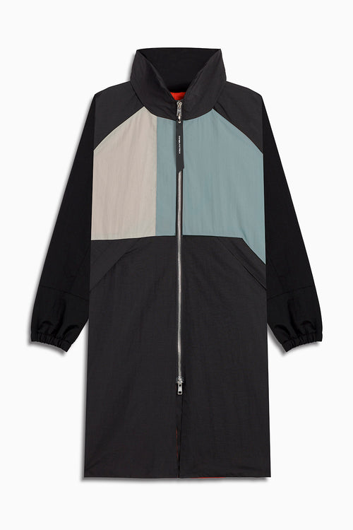 M93 track raincoat in black/smog grey/sea foam by daniel patrick