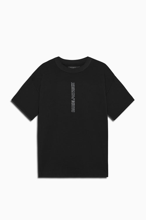 vertical logo tee in black/smog grey by daniel patrick