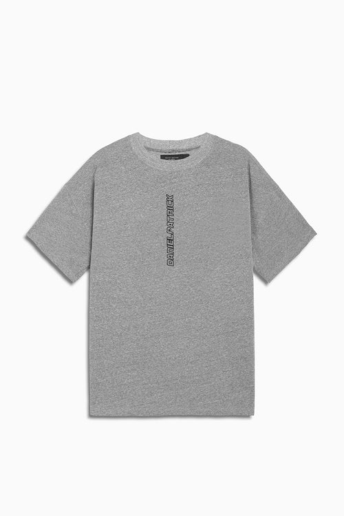 vertical logo tee in heather grey/black by daniel patrick